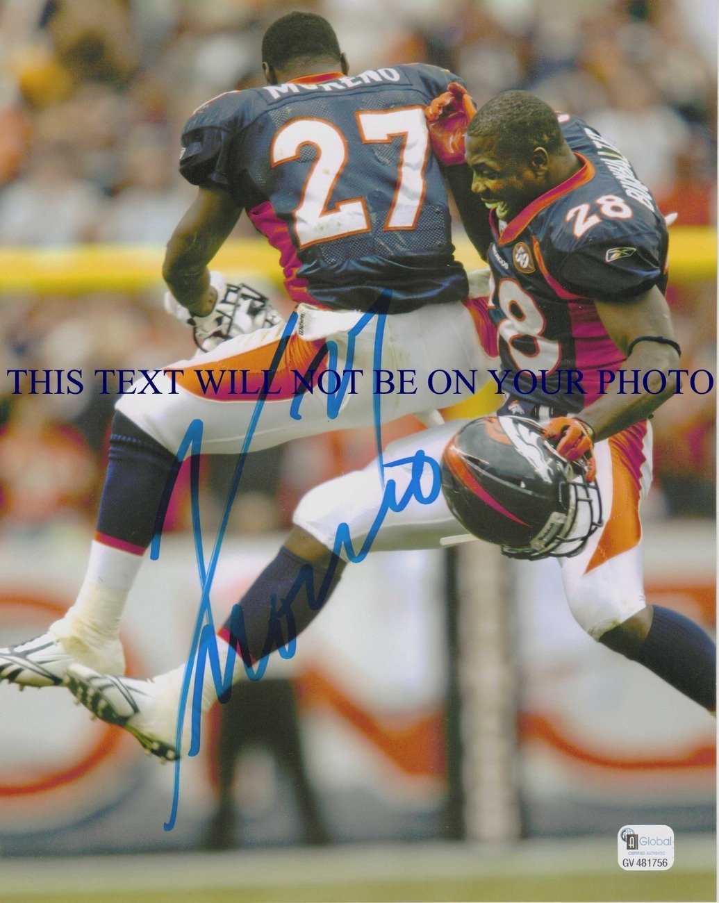 KNOWSHON MORENO SIGNED AUTOGRAPH AUTOGRAPHED 8x10 RP PHOTO DENVER BRONCOS UGA