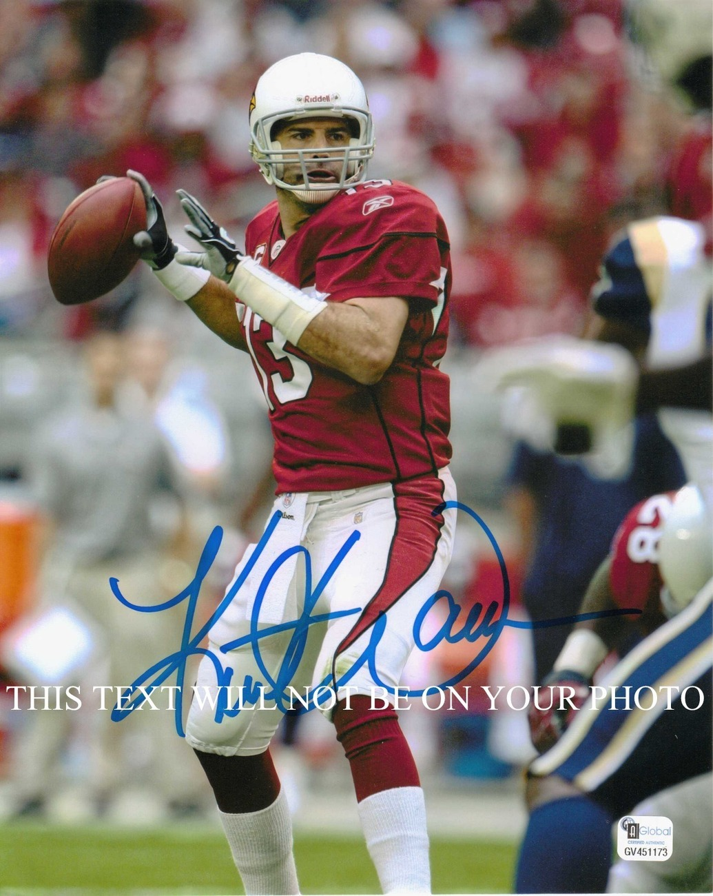 KURT WARNER AUTOGRAPHED 8x10 RP PHOTO ARIZONA CARDINALS QB LEGENDARY