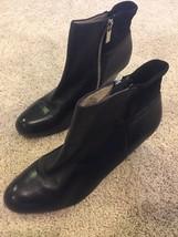 Michael Kors Wedge Women's Black Round Toe Leather Bootie Zipper Size 9M - $74.79