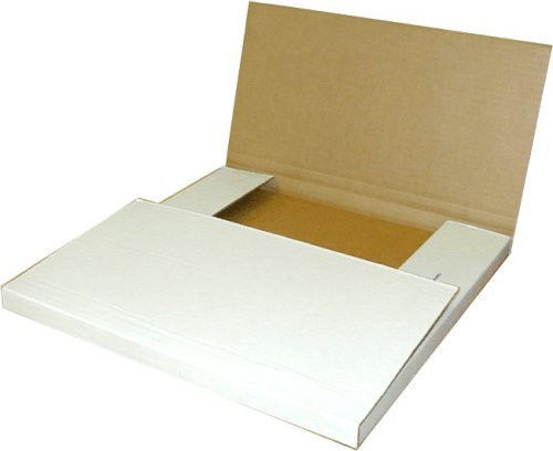 100 - 12-1/8 x 9 1/8 x 2 White Multi Depth Bookfold Mailer Book Box Bookfolds