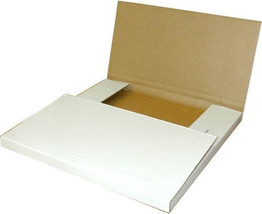 100 - 12-1/8 x 9 1/8 x 2 White Multi Depth Bookfold Mailer Book Box Book... - $67.58