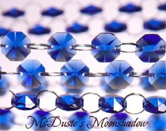 "Primary image for Royal Blue Swarovski 36"" Crystal Chain Style Chandelier Silver Links"