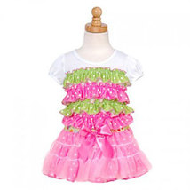 Laura Dare Pink Lime Dot Ruffled Baby Girl Shirt and Tutu 12-24 Months - $40.00