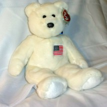 USA AMERICAN FLAG TY CLASSIC BEANIE BUDDY PURE WHITE LIBERTY PLUSH LIBEA... - $15.83