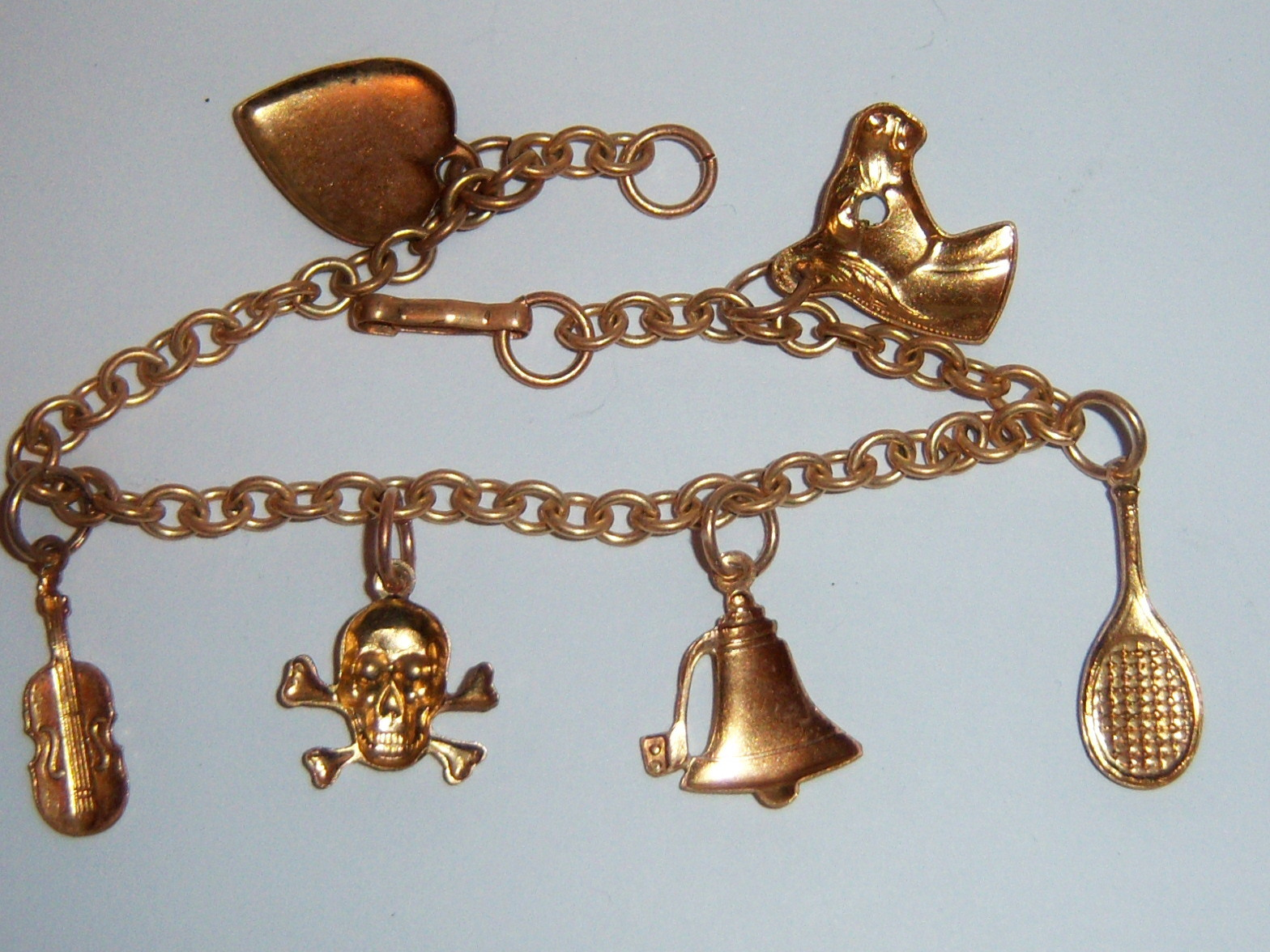 Vintage Brass Charm Bracelet.