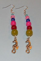 Seahorses Multicolor Beads Dangle Earrings - $8.00