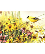 Yellow finch and flowers cross stitch pattern thumbtall