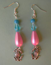 Silver Crabs Blue/Pink Beaded Dangle Earrings - $6.50