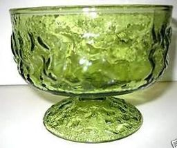 6 Vintage Green Glass Footed Sherberts Low Cham... - $29.99