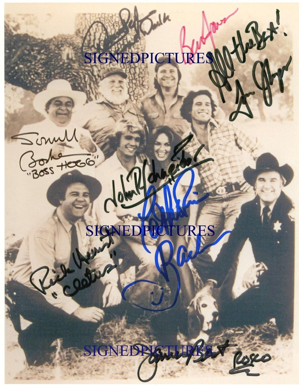 THE DUKES OF HAZZARD CAST SIGNED AUTOGRAPHED AUTOGRAM 8x10 RP PHOTO ALL 8 HAZARD