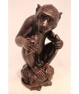 "Cute Hardened Clay Monkey Figurine From Thailand Holding Banana 11"" - $79.18"