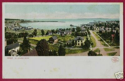ST IGNACE MICHIGAN Aerial UDB 1907 Straits Mi