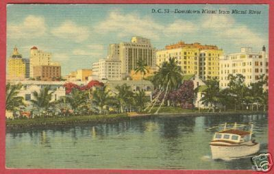 MIAMI FLORIDA Downtown River Boat Linen FL 1958 PC BJs