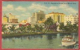 MIAMI FLORIDA Downtown River Boat Linen FL 1958 PC BJs - $6.00