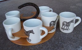 Winart QUARTERHORSE MUGS W/ HORSESHOE HANDLE TRAY Super Rare! - $98.01