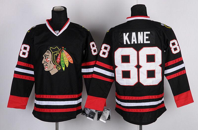 Number 88 Patrick Kane Jerseys Chicago Blackhawks black t shirts, used for sale  USA