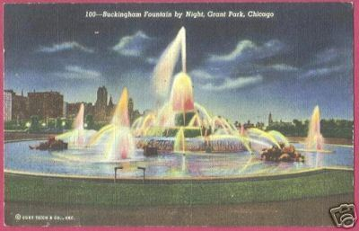 Primary image for Chicago IL Buckingham Fountain Night Linen Postcard BJs