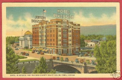 Primary image for Reno NV Postcard Hotel Riverside Court House Linen BJs