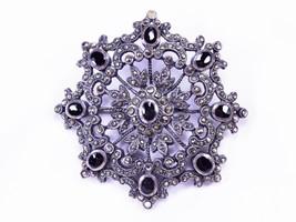 Vintage Sterling Silver Onyx & Marcasite Snowflake Brooch, 1930, RARE!!! - $104.00