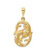 14K Yellow Gold Pisces Zodiac Charm (Length=35) (Width=20) [C475] - €197,31 EUR