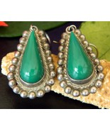 Vintage Diaz Santoyo CJB Earrings Sterling Silver Green Onyx Mexico - £30.55 GBP