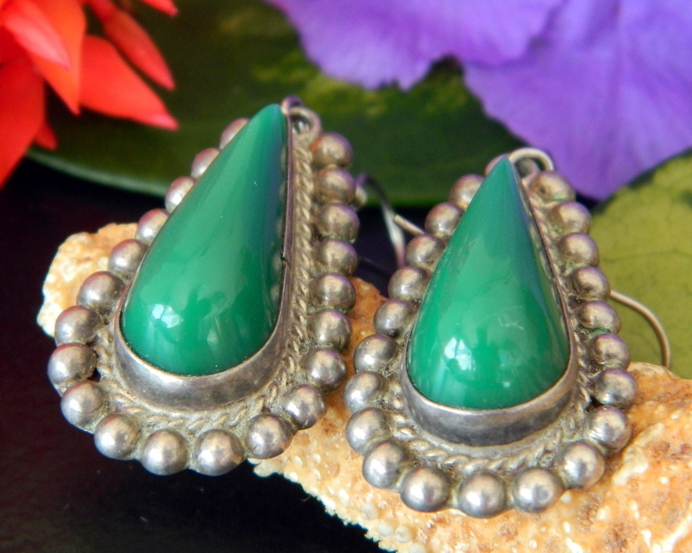 Vintage Diaz Santoyo CJB Earrings Sterling Silver Green Onyx Mexico