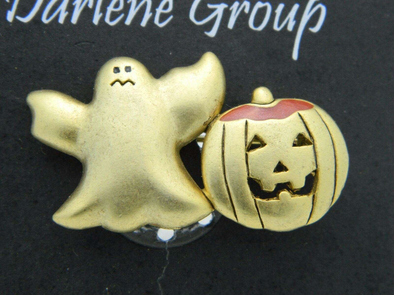 Vintage Halloween Gold Ghost Enamel Pumpkin Darlene Group Pin Brooch NOS