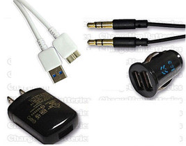 Samsung Galaxy Note 3 N900T Dual Car Charger + Plug + USB Cord + Auxilia... - $13.63