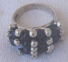 Blue and silver pearls ring - $28.00
