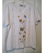 Shenanigans Casual White Pull Over Shirt Womens XL - $9.99