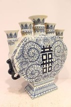 Beautiful Blue and White Porcelain Double Happiness Candle Stick Holder - $98.99