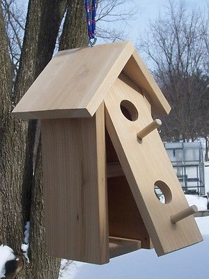 Double nests birdhouse.(REAL}Cedar,with Clean-out,
