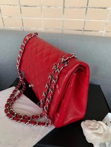 AUTHENTIC CHANEL RED CAVIAR QUILTED JUMBO DOUBLE FLAP BAG SILVER HARDWARE image 3