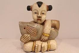 Cute Rare Wooden Thai Girl Holding Fish Figurine Slight Crack - $59.39