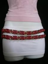 Femme Hip Taille Élastique Deux Rangs Argent Anneaux Métal Rouge Mode Ceinture image 2