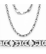 6mm 925 Italy Sterling Silver Byzantine Link Italian Chain Necklace w/ Rhodium - $322.62 - $436.22