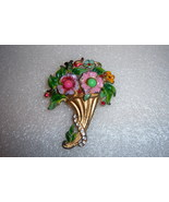 Vintage Flower Bouquet Brooch. Early Vintage Floral Brooch In Enamel. - $90.00