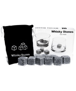Sipping Stones Set of 9 Grey Whisky Chilling Rocks Gift Box & Muslin Pou... - $280,30 MXN