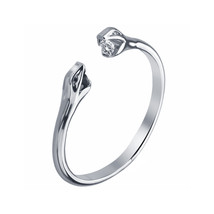 14k White Platinum Over Solid 925 Sterling Silver Two Snake Adjustable Open Ring - £17.58 GBP