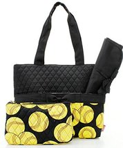 Quilted Black And Yellow Softball Sports Theme Print Monogrammable 3 Pie... - $31.67