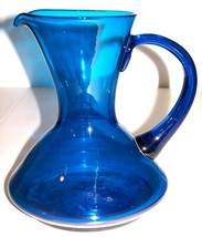 """MID-CENTURY GLASS PITCHER 9"""" High TURQUOISE Han... - $7.49"""