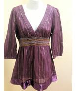 Unit USA L Tunic Top Purple Metallic Striped Smocked 3/4 Sleeve Lace Up ... - $21.54