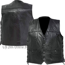Mens Black Buffalo Leather Concealed Carry Vest with Lace Up Sides 4 Snap - $21.95