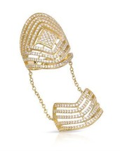 Gold plated Silver Finger Long Ring With Cubic zirconia - $197.01