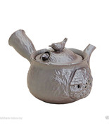 Banko-yaki Pottery : BIRDS - Japanese Pottery Kyusu Tea Pot 220cc Grey - $43.93