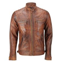 Mens Vintage Biker Distressed Brown Motorcycle Quilted Cafe Racer Leather Jacket image 2