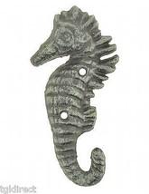 "Cast Iron Wall Hook Verdigris Seahorse 5.5"" Tall Nautical Beach Decor Towel Coat - $9.99"