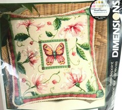 Dimensions Honeysuckle Butterfly Pillow Needlepoint Kit Suzanne Nicoll NEW 14x14 - $39.59