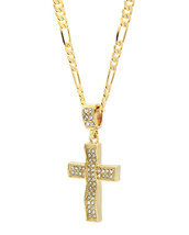 "Mens 14k Gold Plated Cz Wave-3 Cross Pendant Hip-Hop 24"" Figaro Necklace... - £11.28 GBP"