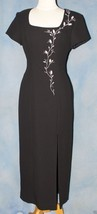 """Liz Claiborne Lined Black Dress Size 6 Bust 34"""" Embroidered & Beaded - $19.31"""